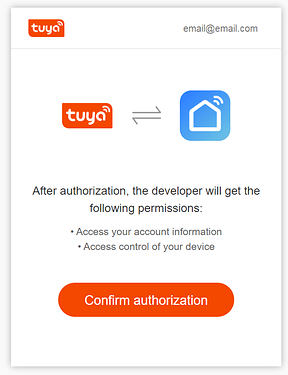confirm authorisation for apilio and smart life connection