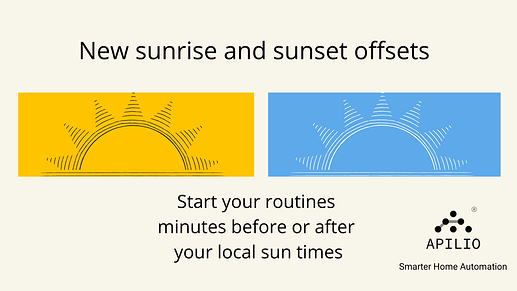 New sunset and sunrise offsets in apilio trigger routines before or after your local sun times