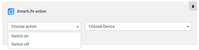 choose smart life action dropdown in apilio
