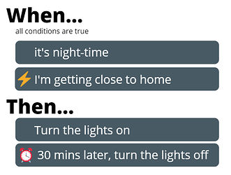 Apilio use case - turn lights on for 30 mins when Im getting home