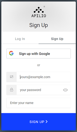 Apilio login with email and password or with google sign up