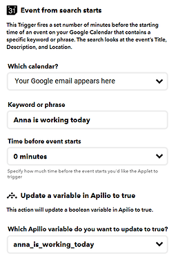 Setup of ifttt applet to check if an event is happening today